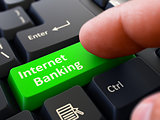 Internet Banking Concept. Person Click Keyboard Button.