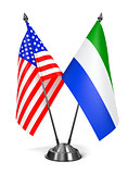 USA and Sierra Leone - Miniature Flags.