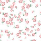 Rose with leaf seamless pattern
