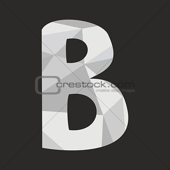 B vector alphabet letter isolated on black background illustration