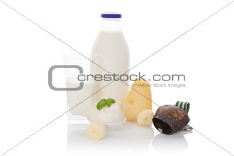 Dairy products isolated on white.