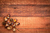 red barn wood with fall decoration
