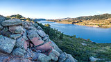 Horsetooth Reservoir aerial panorama