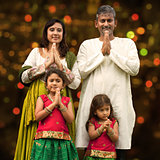 Indian family greeting on diwali