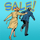 family running sale retro style pop art