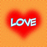 Love red heart inscription retro style pop art