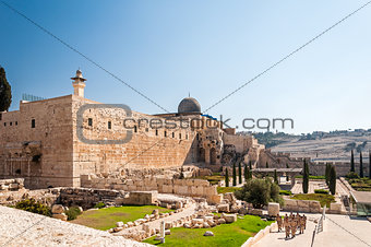 Al-Aqsa Mosque of Omar view western wall in Jerusalem
