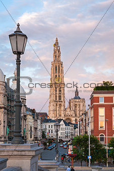 Cathedral of Our Lady and Suikerrui street in Antwerp, Belgium