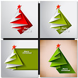 Christmas tree card. Vector origami