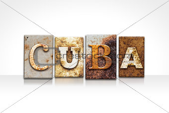 Cuba Letterpress Concept Isolated on White