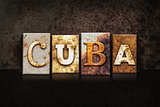 Cuba Letterpress Concept on Dark Background