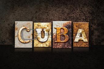 Cuba Letterpress Concept on Dark Background