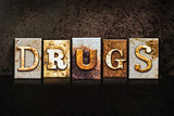 Drugs Letterpress Concept on Dark Background