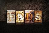 Fads Letterpress Concept on Dark Background