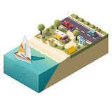 Vector isometric beach camping