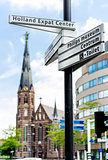 Street sign of Eindhoven landmarks. Netherlands