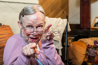 Old Woman in Living Room Dancing