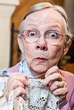 Funny Elderly Woman with Crochet