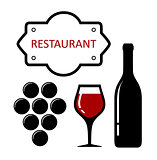 restaurant icon with grapes and wine glass