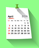 Flat design calendar for april 2016 on sticky