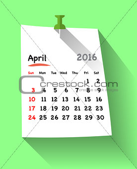 Flat design calendar for april 2016 on sticky