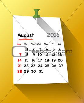 Flat design calendar for august 2016 on sticky