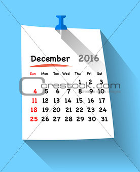 Flat design calendar for december 2016 on sticky