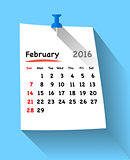 Flat design calendar for february 2016 on blue sticky note