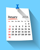 Flat design calendar for january 2016 on sticky