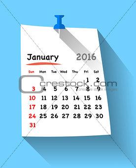 Flat design calendar for january 2016 on sticky