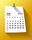 Flat design Calendar for july 2016 sticky
