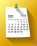 Calendar for june 2016 on orange sticky