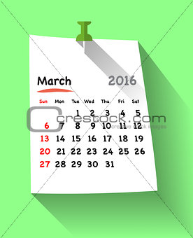 Flat design calendar for march 2016 on sticky