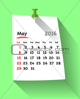 Flat design calendar for may 2016 on sticky