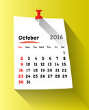 Flat design calendar for october 2016
