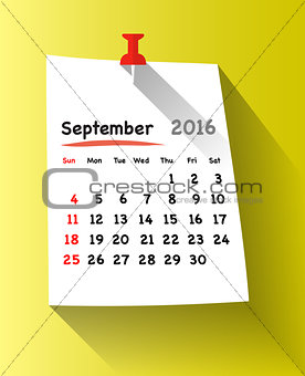 Flat design calendar for september 2016