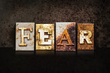 Fear Letterpress Concept on Dark Background