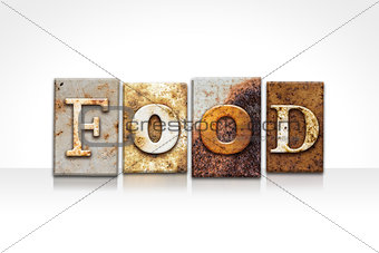 Food Letterpress Concept Isolated on White