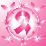 Breast cancer awareness pink ribbon in the circle.