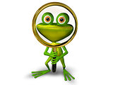 Frog with a magnifying glass