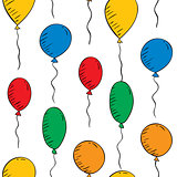 colorful balloons on a white background. Seamless wallpaper