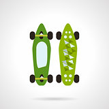 Flat color vector icon for modern skateboard