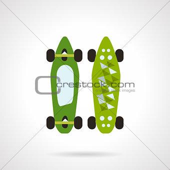 Flat color vector icon for modern skateboard