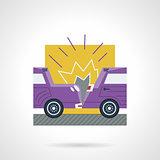 Flat color vector icon for car crash