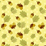 seamless fall pattern with oak leaves and acorns