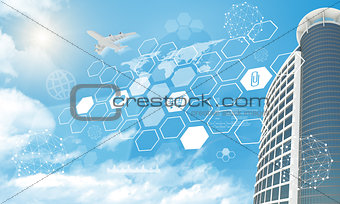 Skyscraper with icons and molecule