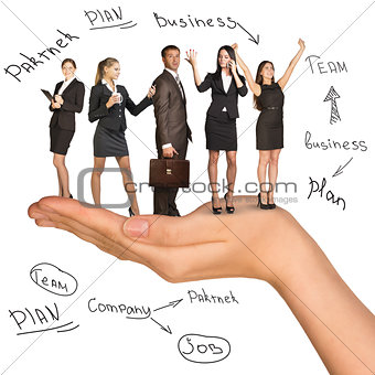Businessman and women in humans hand