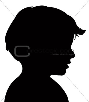 boy head silhouette, vector