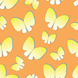 seamless background with silhouettes butterflies