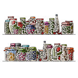 Set of pickle jars with fruits and vegetables